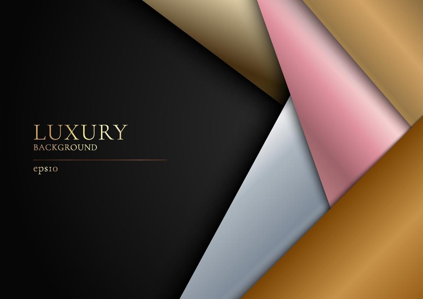 abstrakt gyllene, silver, rosa guld överlappande lager på svart bakgrund modern lyxig design. vektor