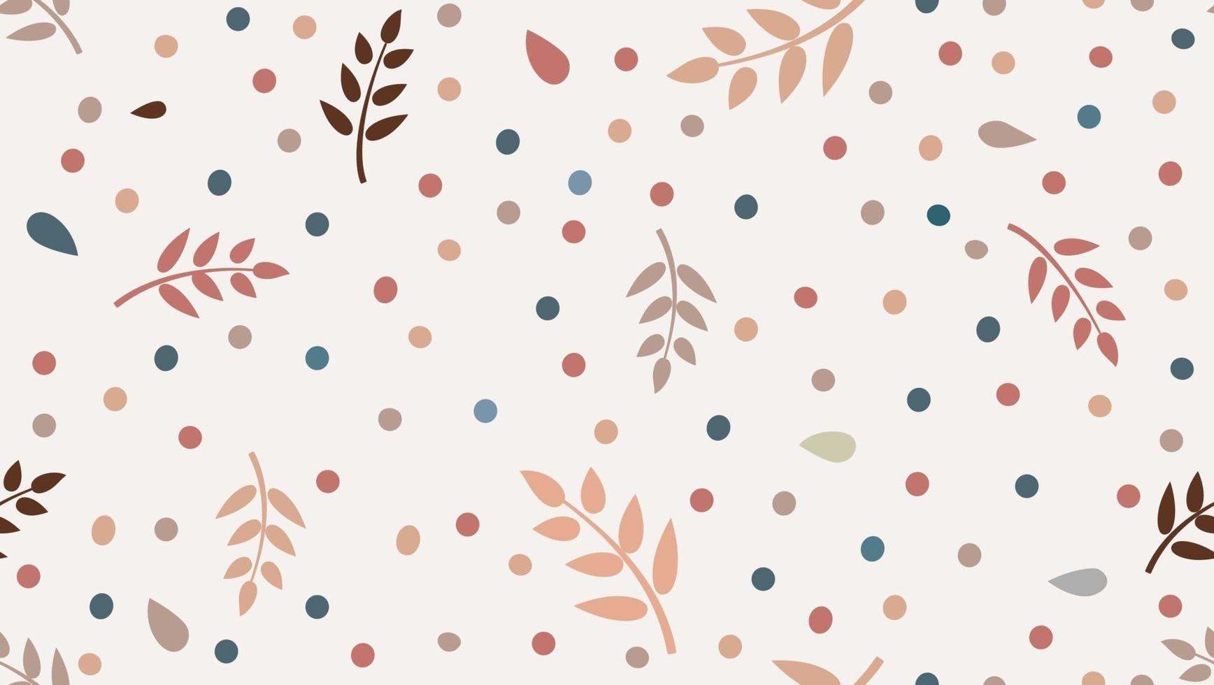 Blumenmuster mit Blättern und Punkten im minimalistischen kindlichen Stil vektor