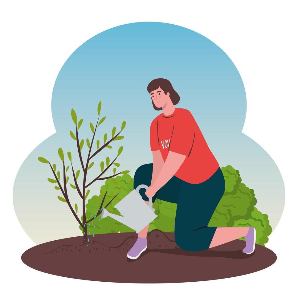 Freiwillige Frau, die einen Baum pflanzt, Ökologie-Lebensstilkonzept vektor