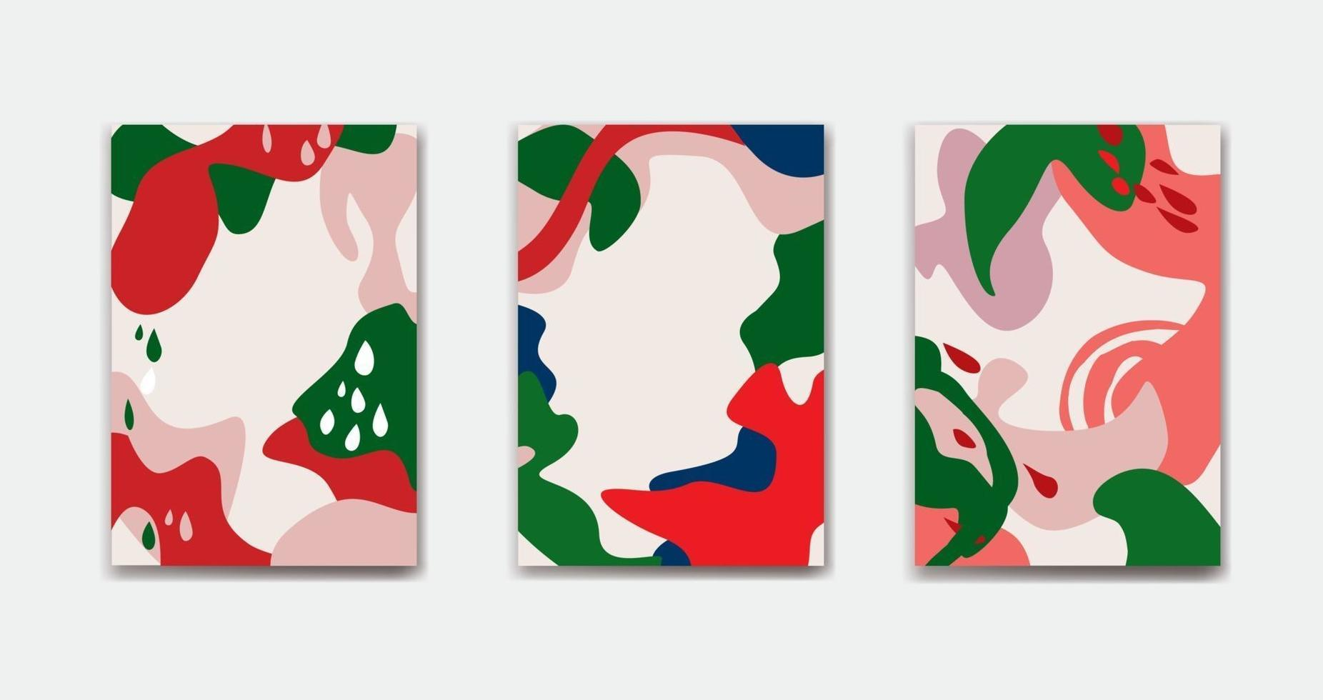 Satz abstrakter Blumenhintergrundentwürfe für Sommerferien mit Blättern. vektor