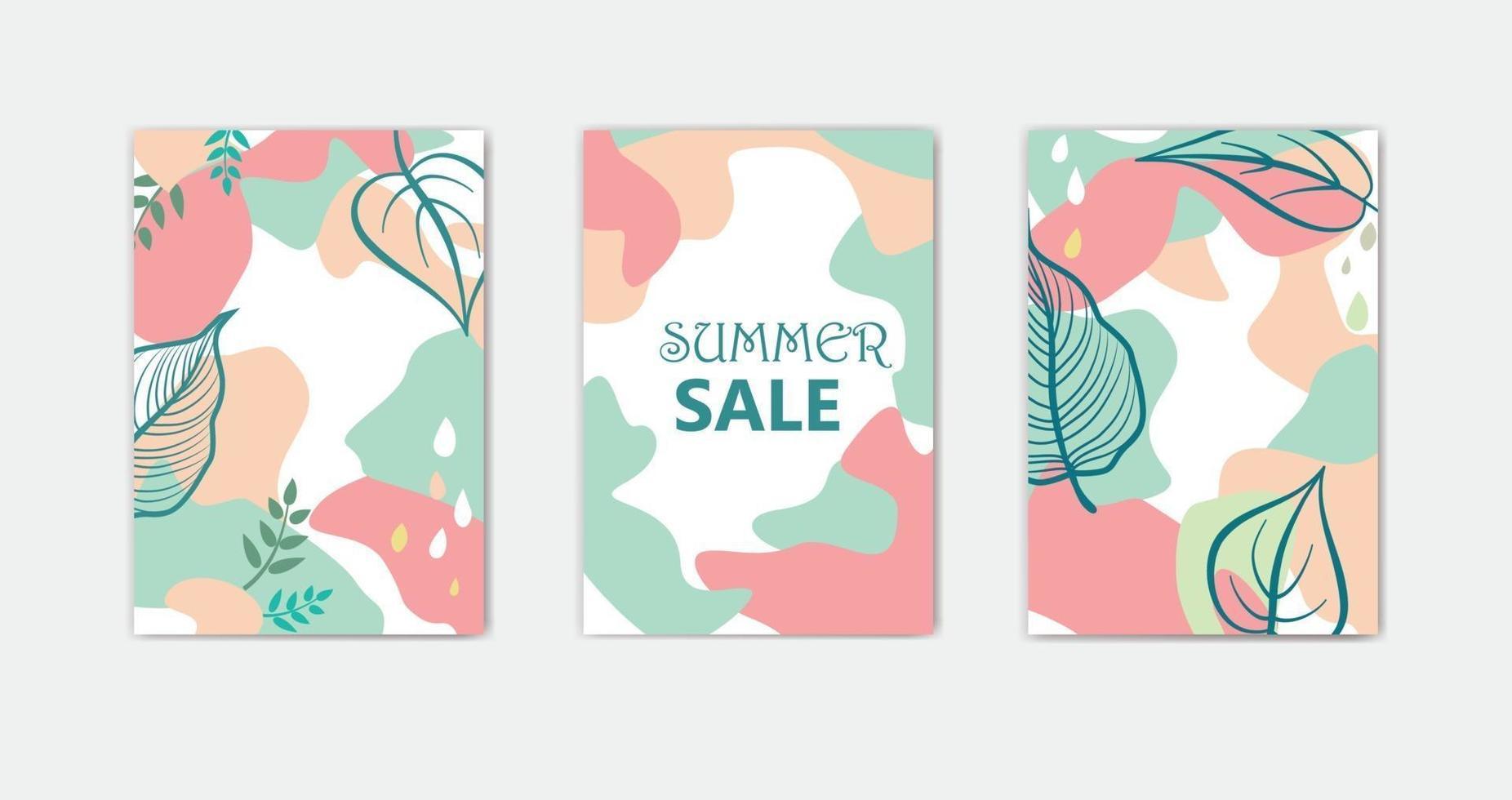 uppsättning abstrakta blommiga bakgrundsdesigner för sommarsemester med löv vektor