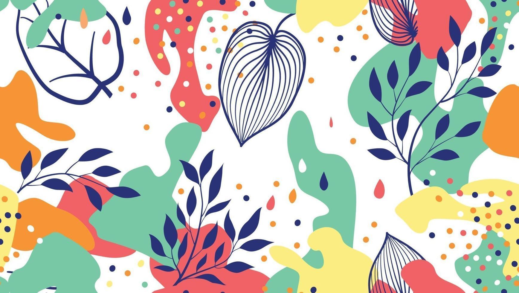 abstrakte organische Flecken und Blätter nahtloses Muster im trendigen Stil. stilvoller Hintergrund mit Punkten und fließenden Blumenformen. vektor