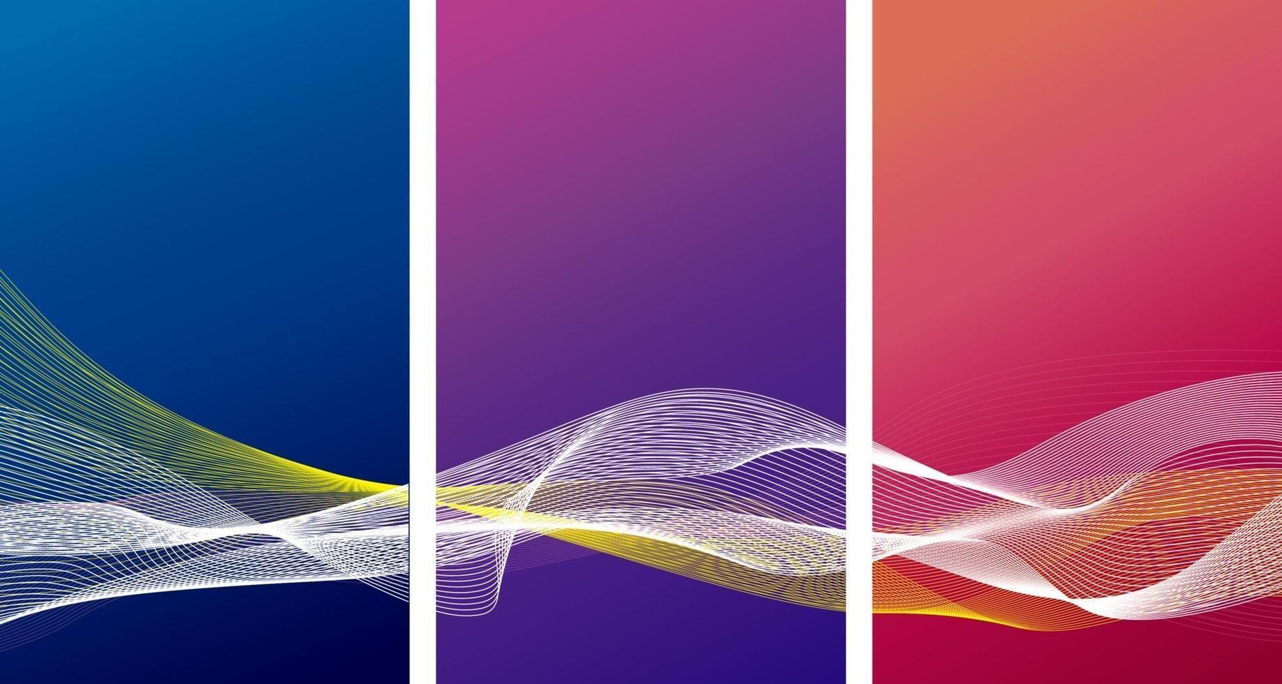 abstraktes Bannerhintergrunddesign der Farbe mit Linienwellenvektorillustration vektor