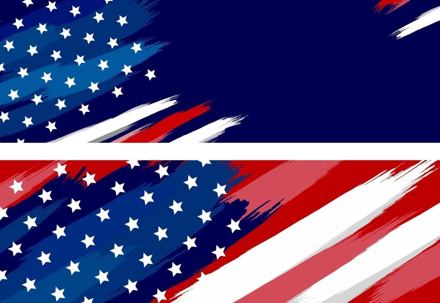 Pinsel der USA oder der amerikanischen Flagge auf weißer Hintergrundvektorillustration vektor