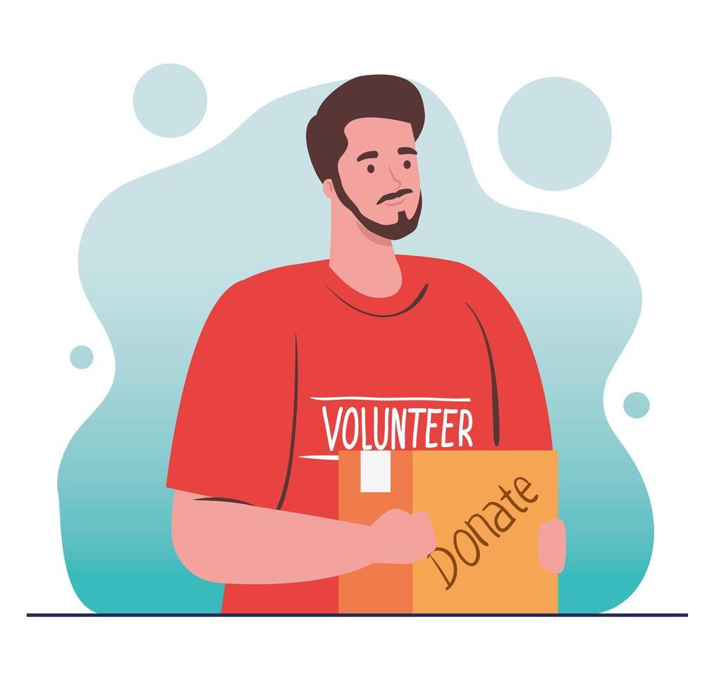 Freiwilliger Mann, der eine Spendentasche, ein Spendenkonzept für Wohltätigkeit und Sozialfürsorge hält vektor