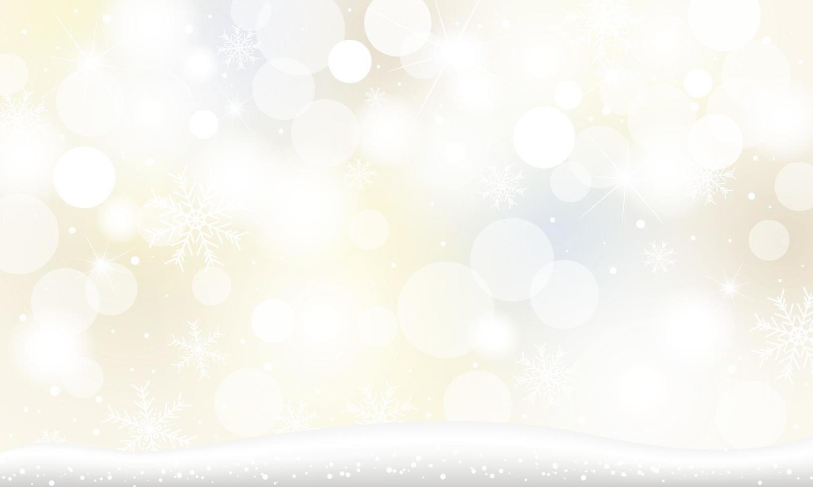 Weihnachtshintergrundentwurf der Schneeflocke und des Schnees, die mit bokeh Lichter in der Wintervektorillustration fallen vektor