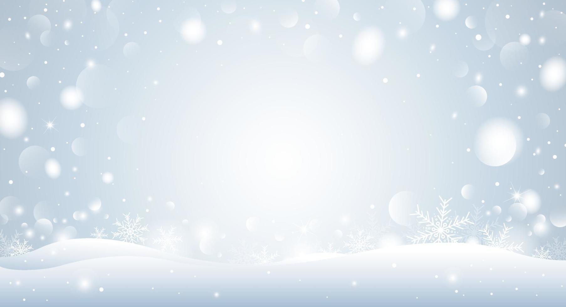 Weihnachtshintergrundkonzeptentwurf der weißen Schneeflocke und des Bokeh in der Wintervektorillustration vektor