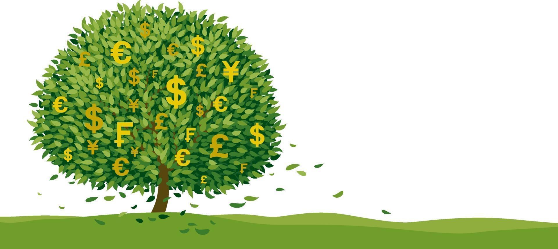 Geldbaumentwurf auf weißem Hintergrund mit Kopienraumvektorillustration vektor
