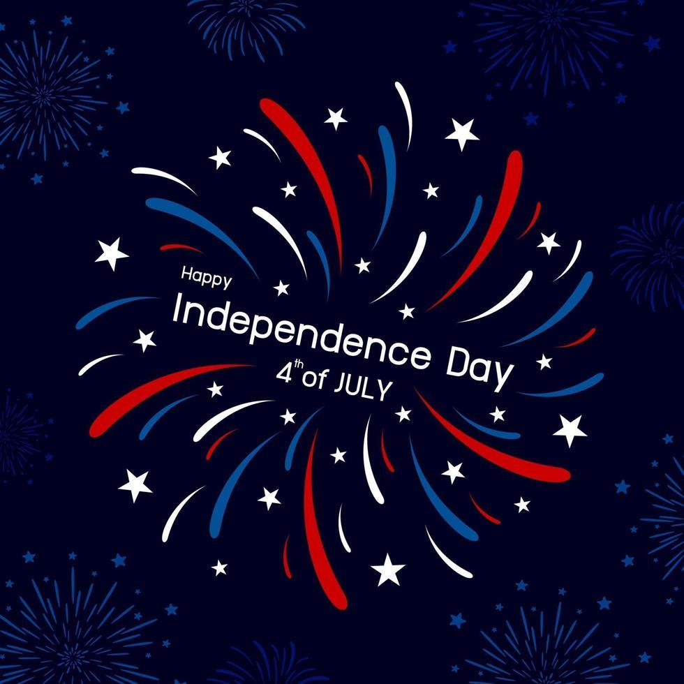 Feuerwerksentwurf des 4. Juli glückliche Unabhängigkeitstag-Vektorillustration vektor