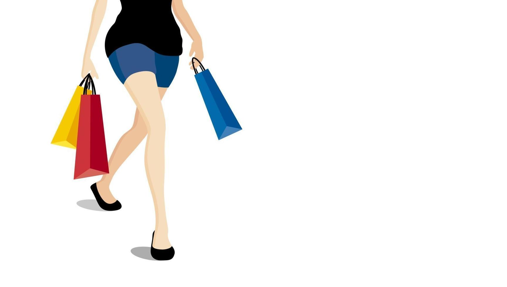 Frau, die mit bunten Einkaufstaschen auf weißem Hintergrundvektorillustration geht vektor