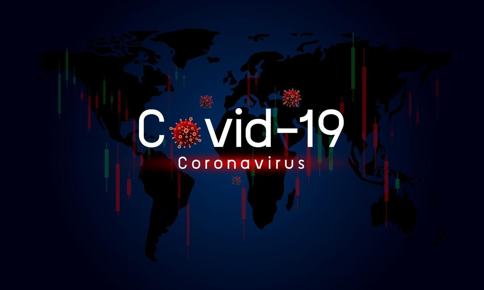 Covid-19 oder Coronavirus wirken sich auf die Vektorillustration der Aktienmärkte der Weltwirtschaft aus vektor