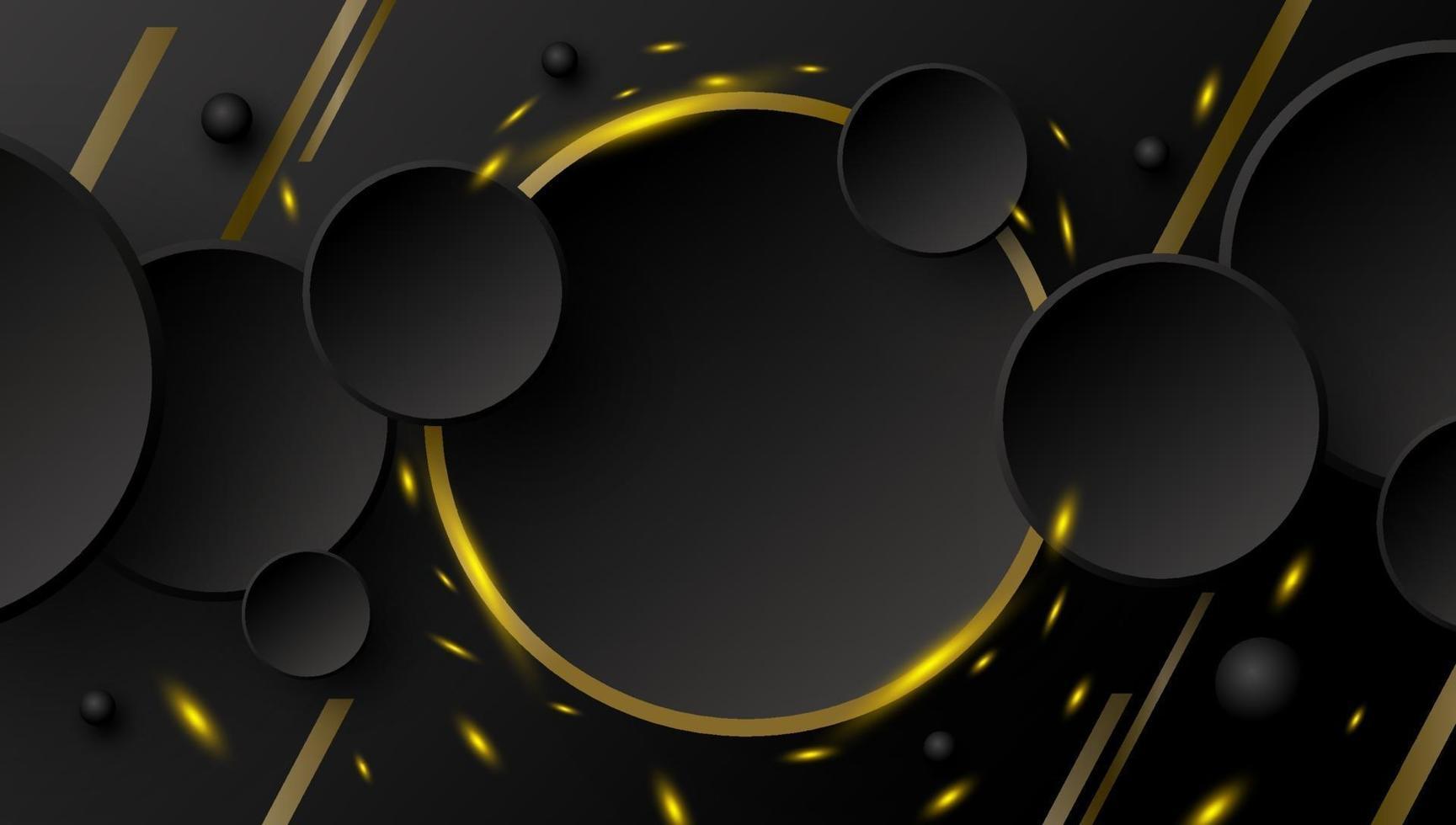 abstrakter Fahnenentwurf des Kreisknopfes und der Goldlinie mit Funken auf schwarzer Hintergrundvektorillustration vektor
