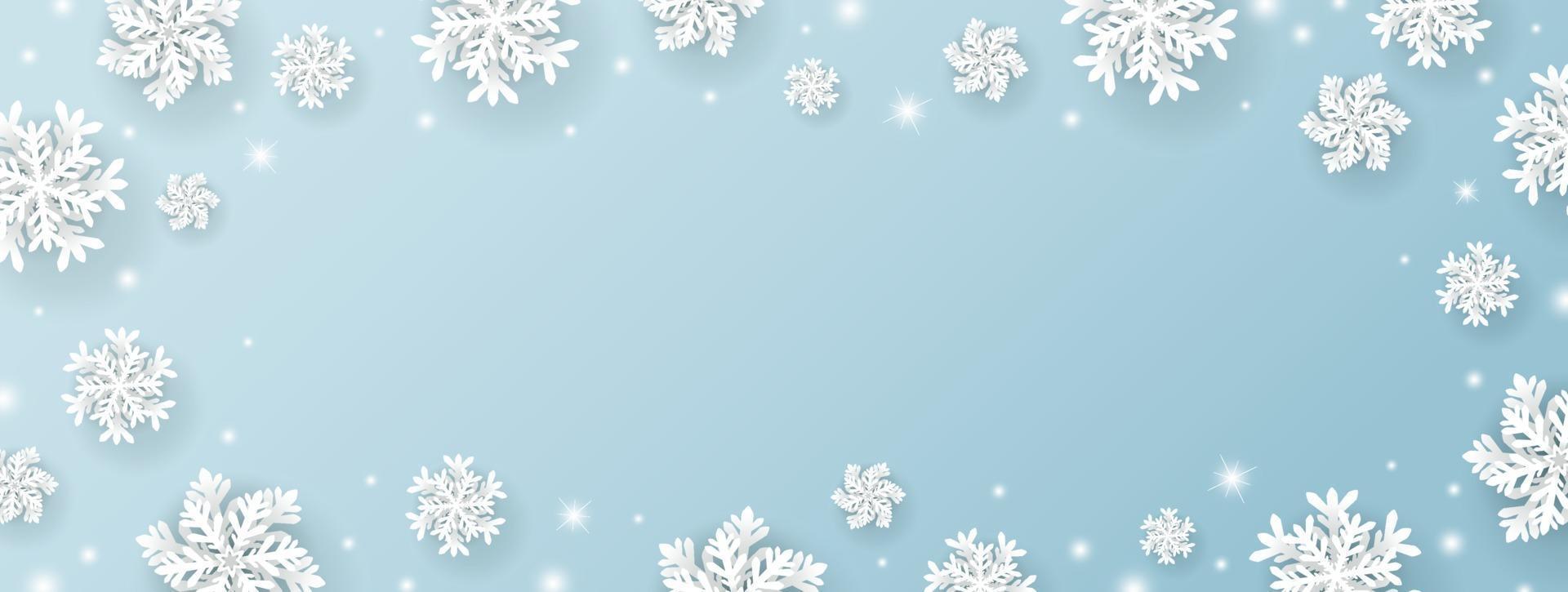 Weihnachts- und Winterfahnenentwurf von Schneeflocke und Schnee mit Lichtern auf blauem Hintergrundvektorillustration vektor