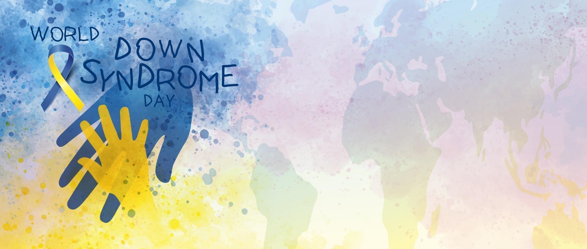 Welt-Down-Syndrom-Tagesfahnenentwurf der Aquarellvektorillustration vektor