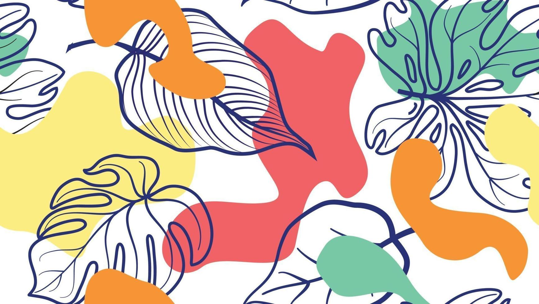 abstrakte organische Flecken und Blätter. nahtloses Blumenmuster im trendigen Stil. stilvoller Hintergrund mit Punkten und fließenden Blumenformen. vektor