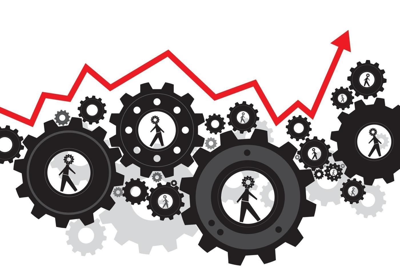 Human Gear Design Business Teamwork Konzept Vektor-Illustration vektor