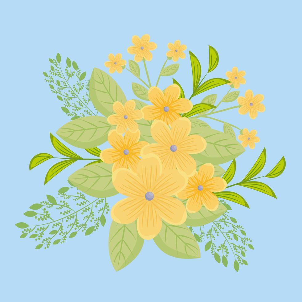 gula blommor med grenar och blad för naturdekoration vektor
