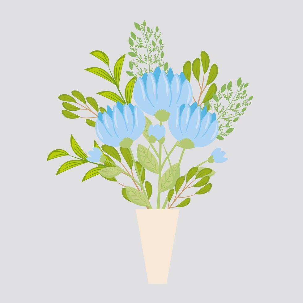 blå blommor med grenar och löv för naturdekoration vektor