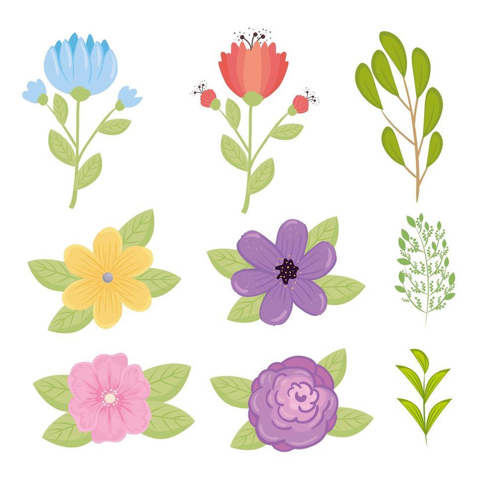 uppsättning söta blommor vektor