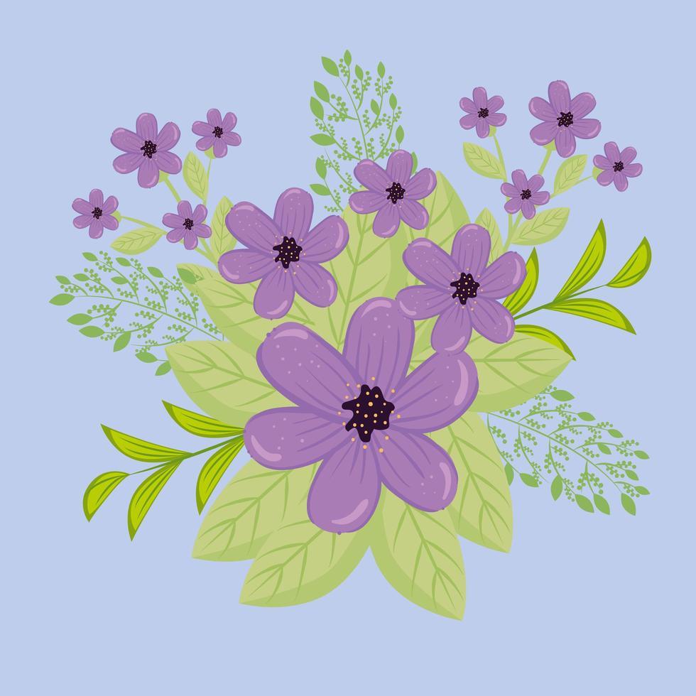 lila Blüten mit Zweigen und Blättern für die Naturdekoration vektor