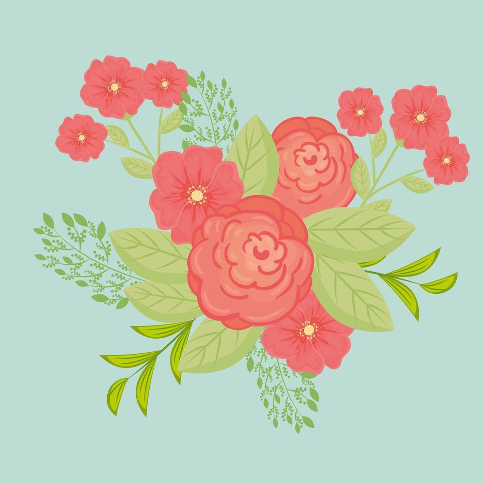 röda blommor med grenar och blad för naturdekoration vektor