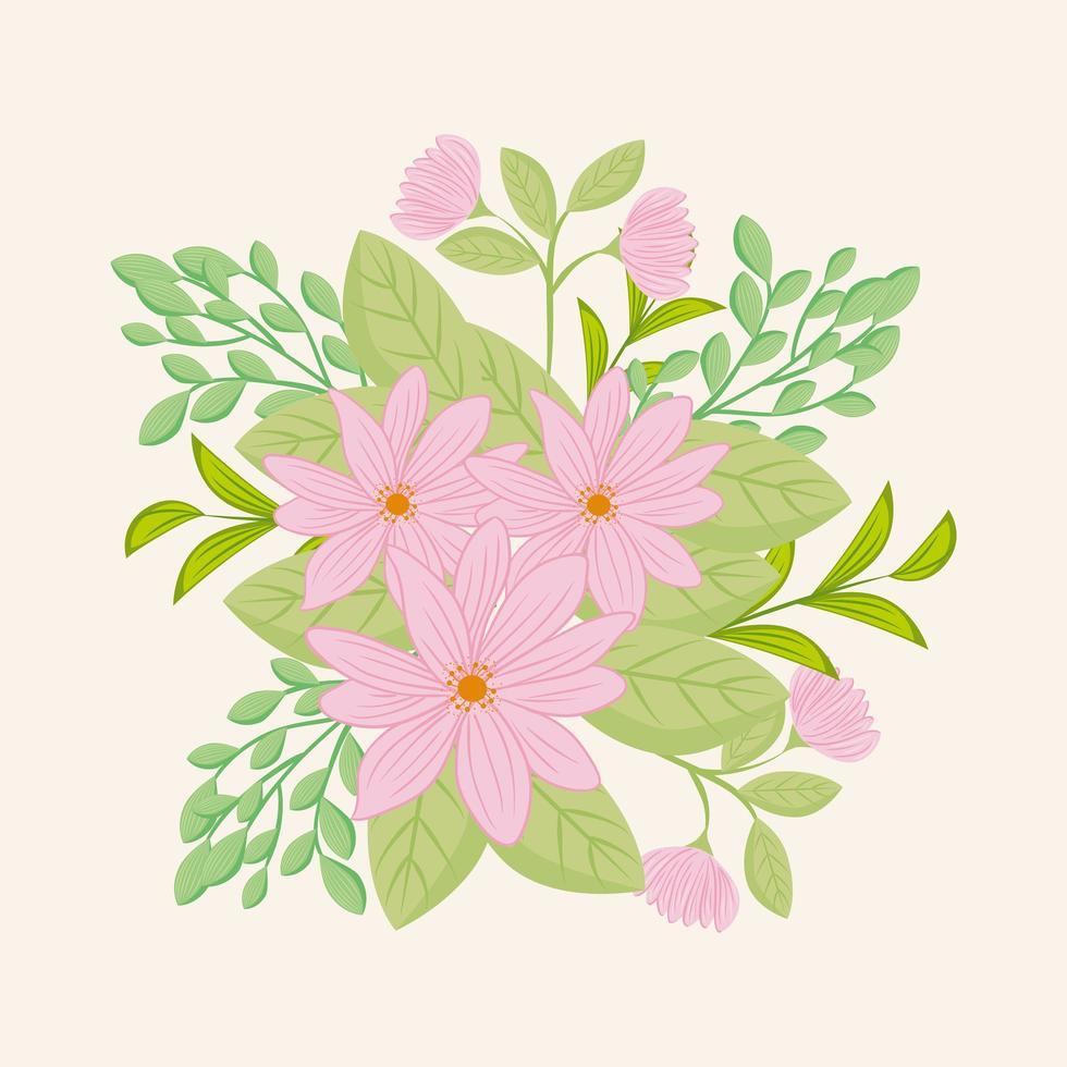 rosa blommor med grenar och blad för naturdekoration vektor
