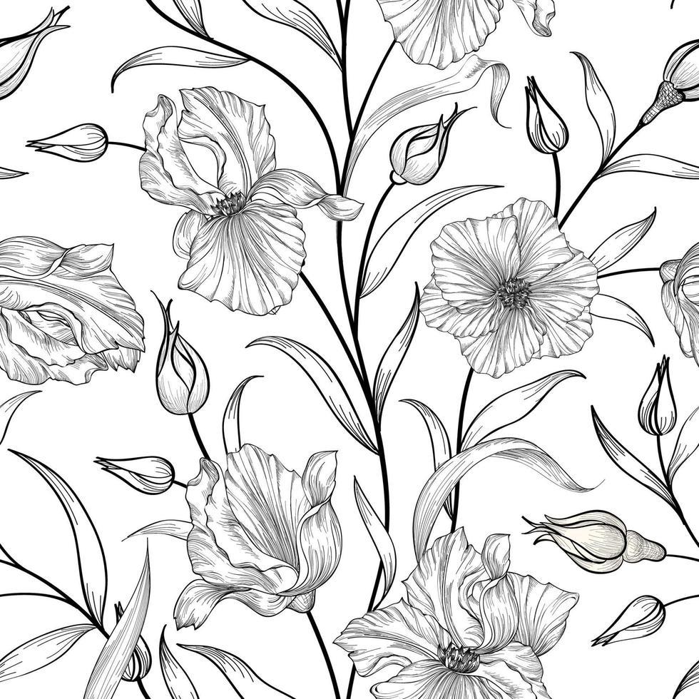 sömlös blommönster. blomma trädgård handritad linje konst bakgrund. blommig ornamenal tapet vektor
