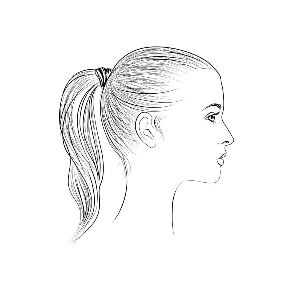 kvinna ansikte profil silhuett. kvinnor frisyr dras ikon. damporträtt i retrostil. vektor