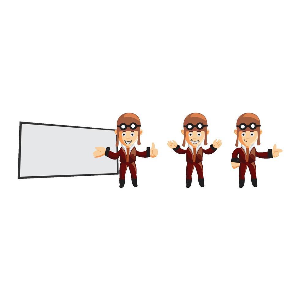 Pilot-Zeichen-Illustrationssatz vektor