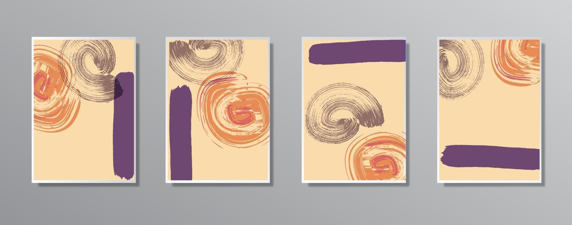 uppsättning kreativa minimalistiska handritade vintage neutrala färgillustrationer, för vägg. för presentkort, affisch på vägg affischmall, målsida, ui, ux, omslagsbok, baner, vektor