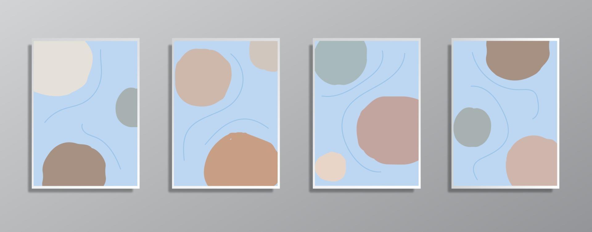 Satz kreative minimalistische handgezeichnete Vintage neutrale Farbillustrationen für Wand vektor