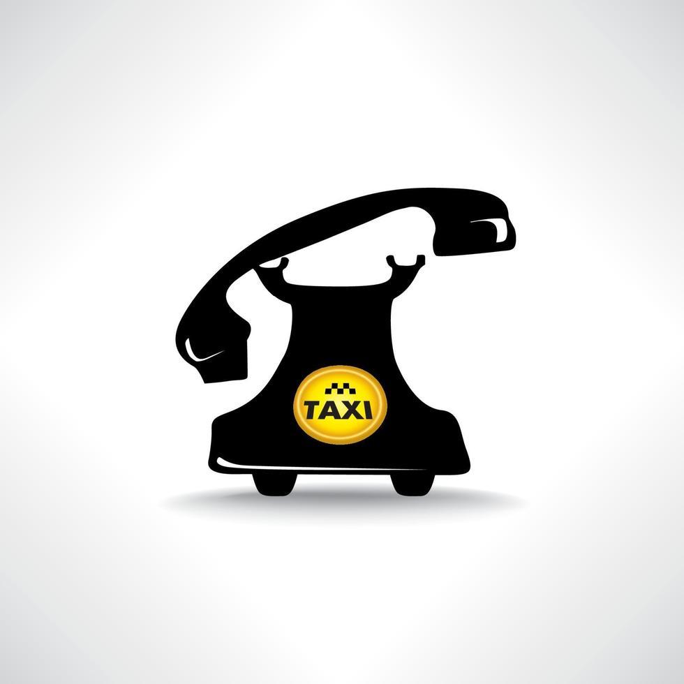 retro telefon med cirkel taxi emblem vektor