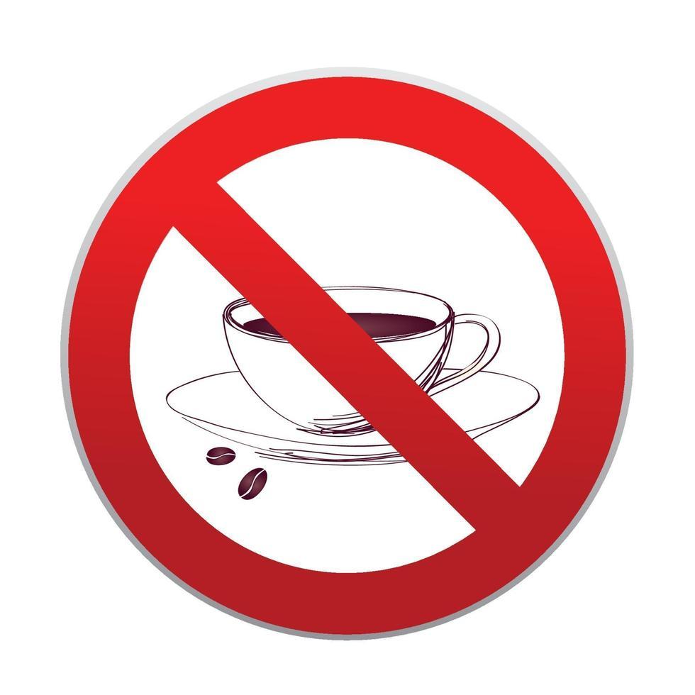 varma drycker är inte tillåtna. ingen kaffekopp-ikon. rött förbud rund form tecken vektor