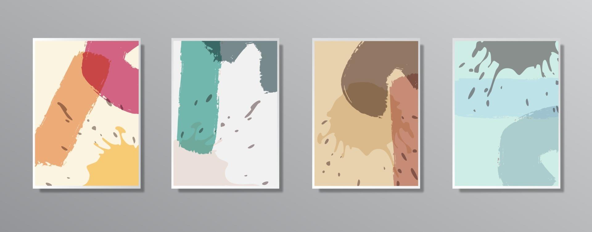 Satz kreative minimalistische handgezeichnete Vintage neutrale Farbillustrationen für Wand. für Geschenkkarte, Poster an Wand Poster Vorlage, Landing Page, UI, UX, Coverbook, Baner, vektor