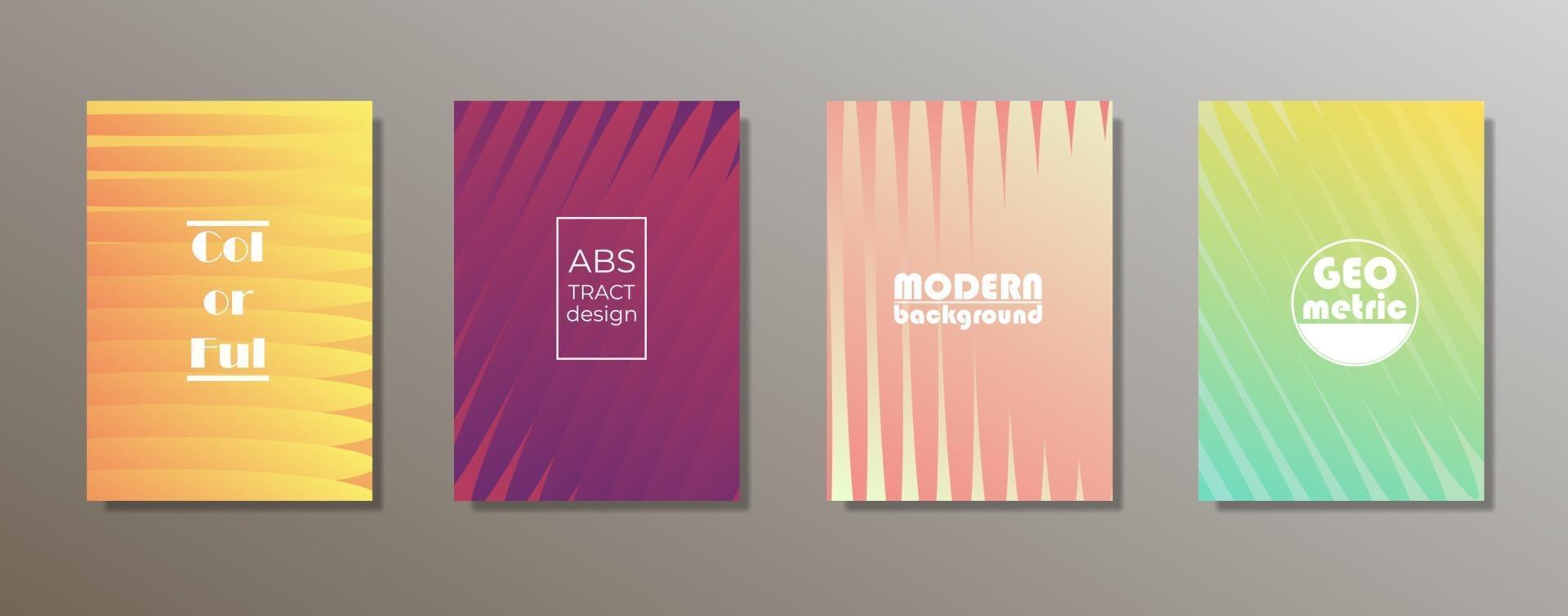 färgglad minimalistisk omslagsdesign. minimala geometriska mönsterlutningar vektor