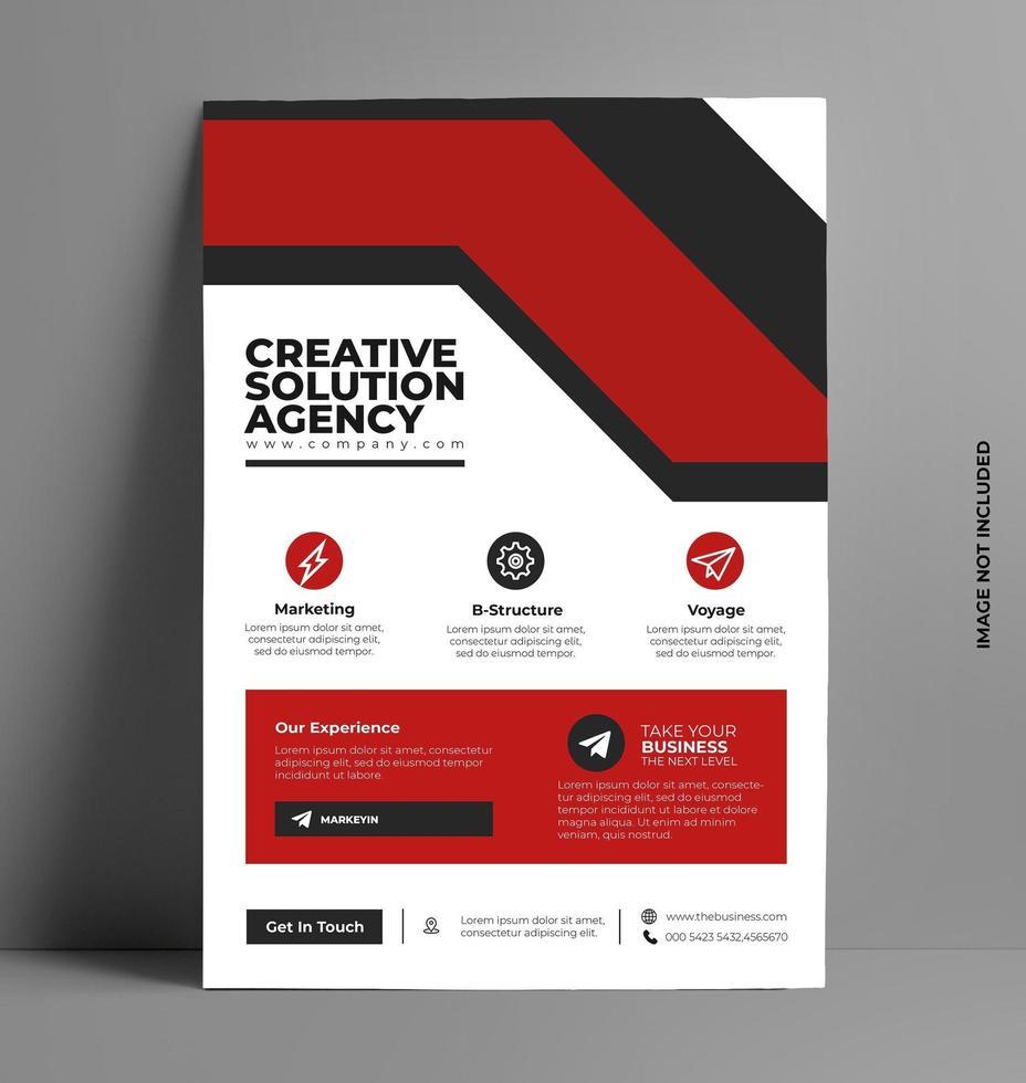 röd flygblad design layoutmall i A4-storlek. vektor