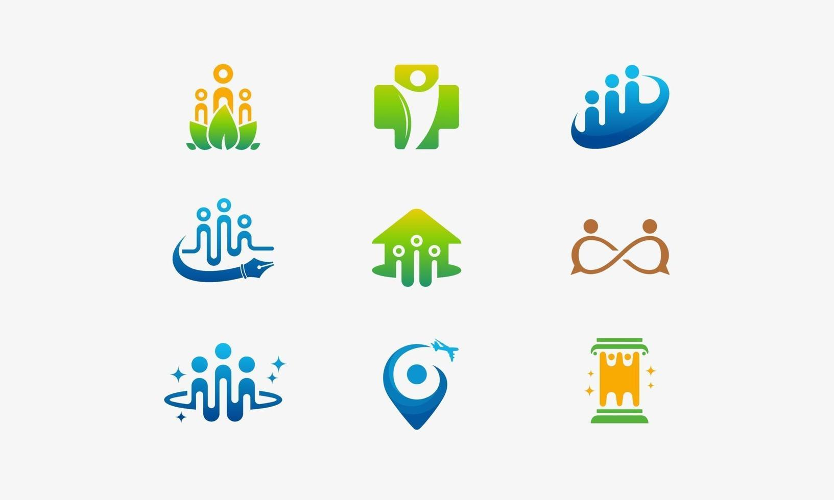 uppsättning människor i gemenskapens ikon design vektor