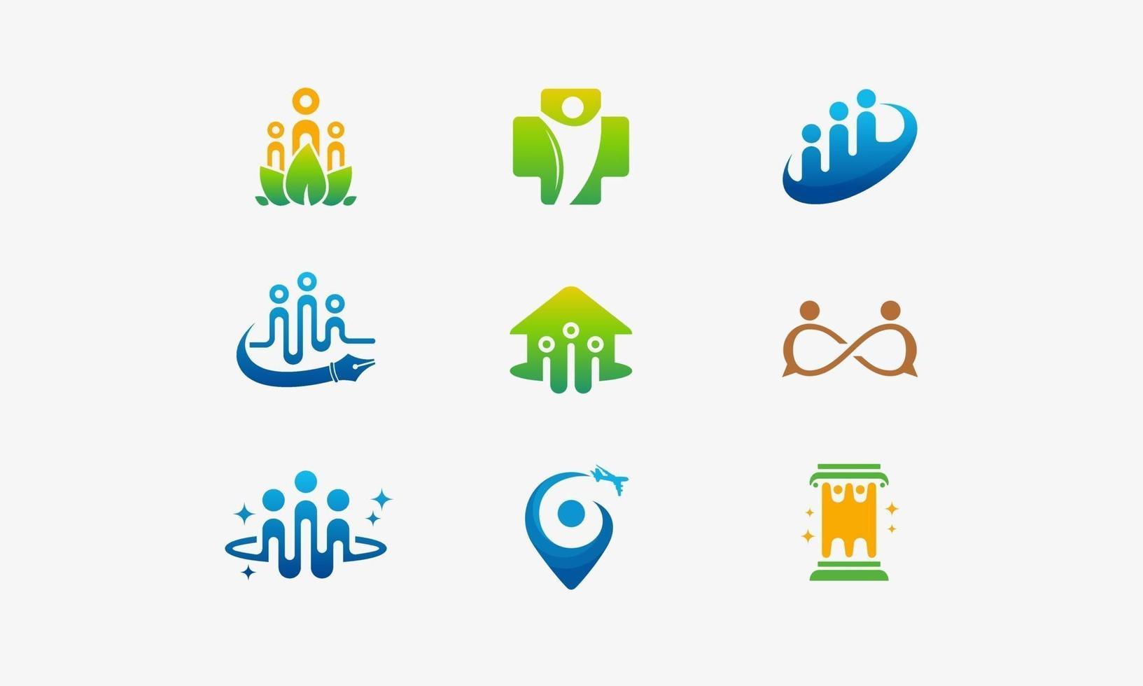 Gruppe von Menschen in Community-Icon-Designs vektor