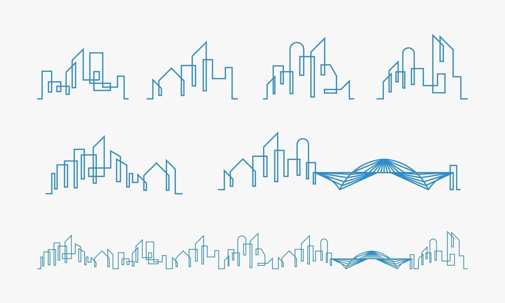 uppsättning av stadens silhuett linje konst koncept vektor