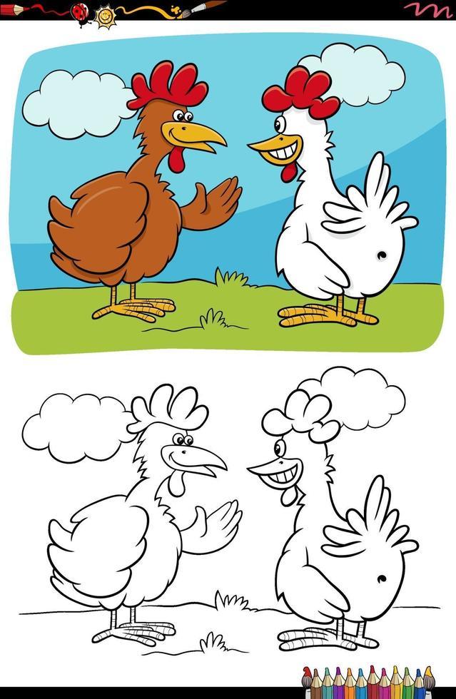 tecknade roliga kycklingar pratar målarbok sida vektor