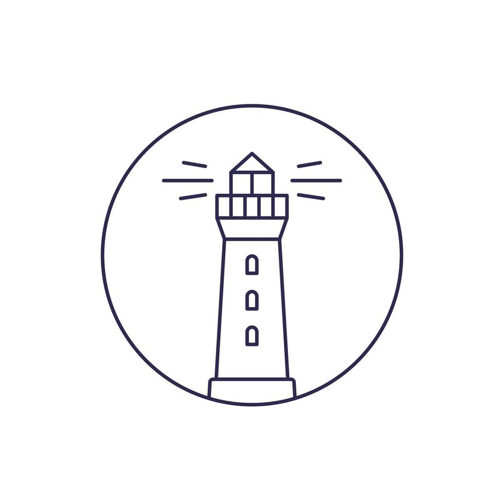 Leuchtturm Vektor Linie Symbol auf white.eps