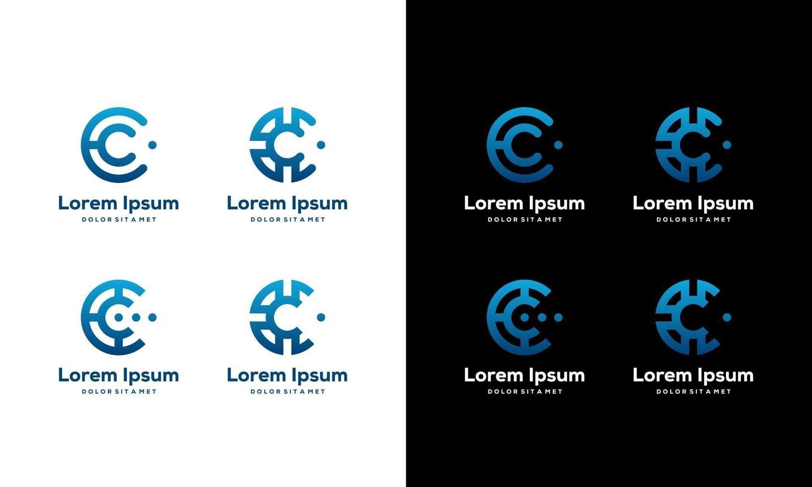 uppsättning moderna tech bokstaven c ikoner vektor