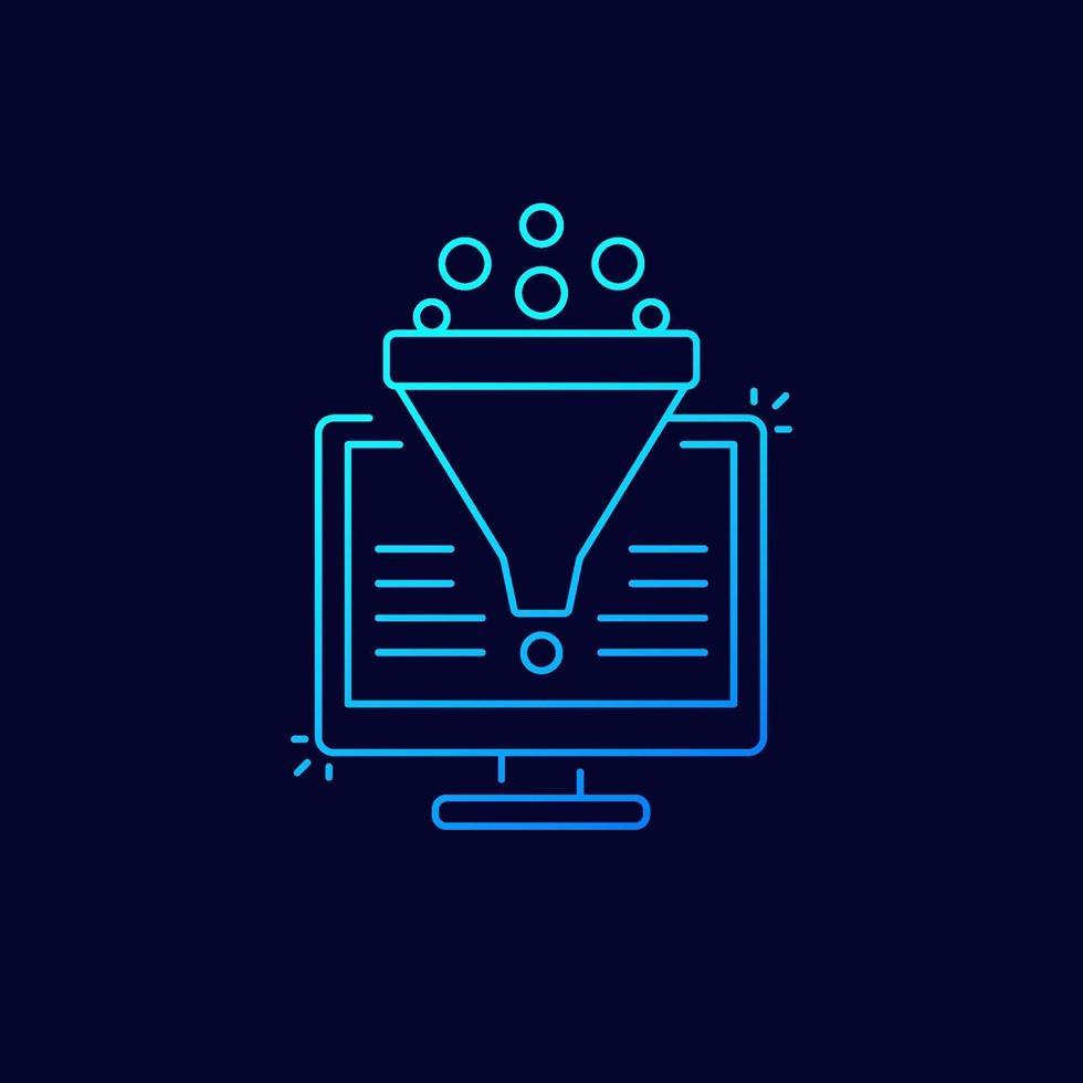 konverteringsfrekvensoptimering, försäljningstratt, digital marknadsföring vektor linjär ikon.eps