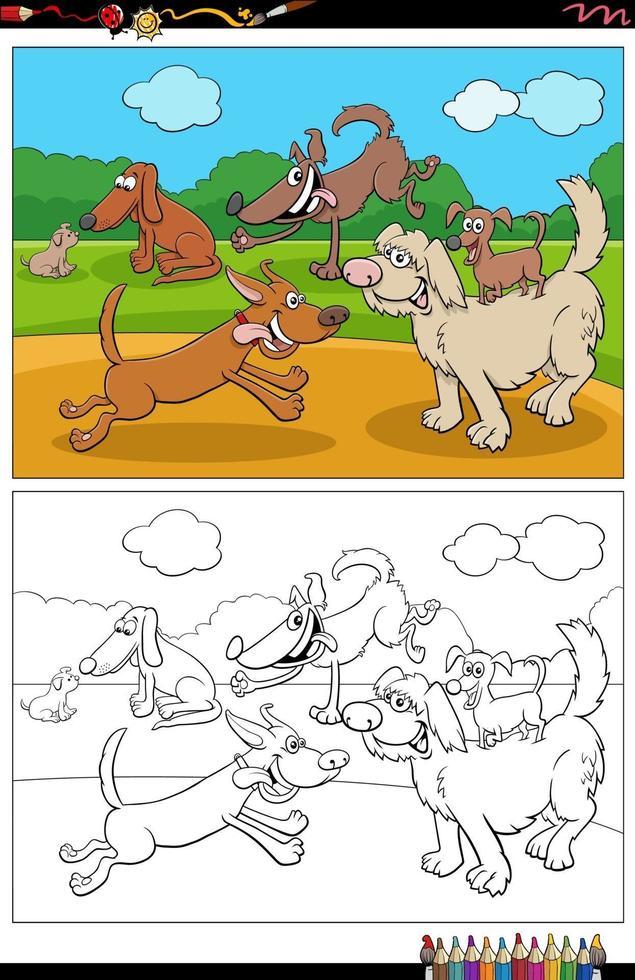 tecknade roliga hundar och valpar grupp målarbok sida vektor