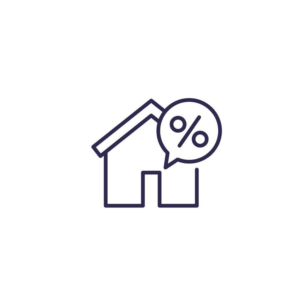 hus inteckning, lån vektor linje ikon. eps