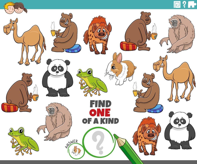 ett unikt spel för barn med söta tecknade djur vektor