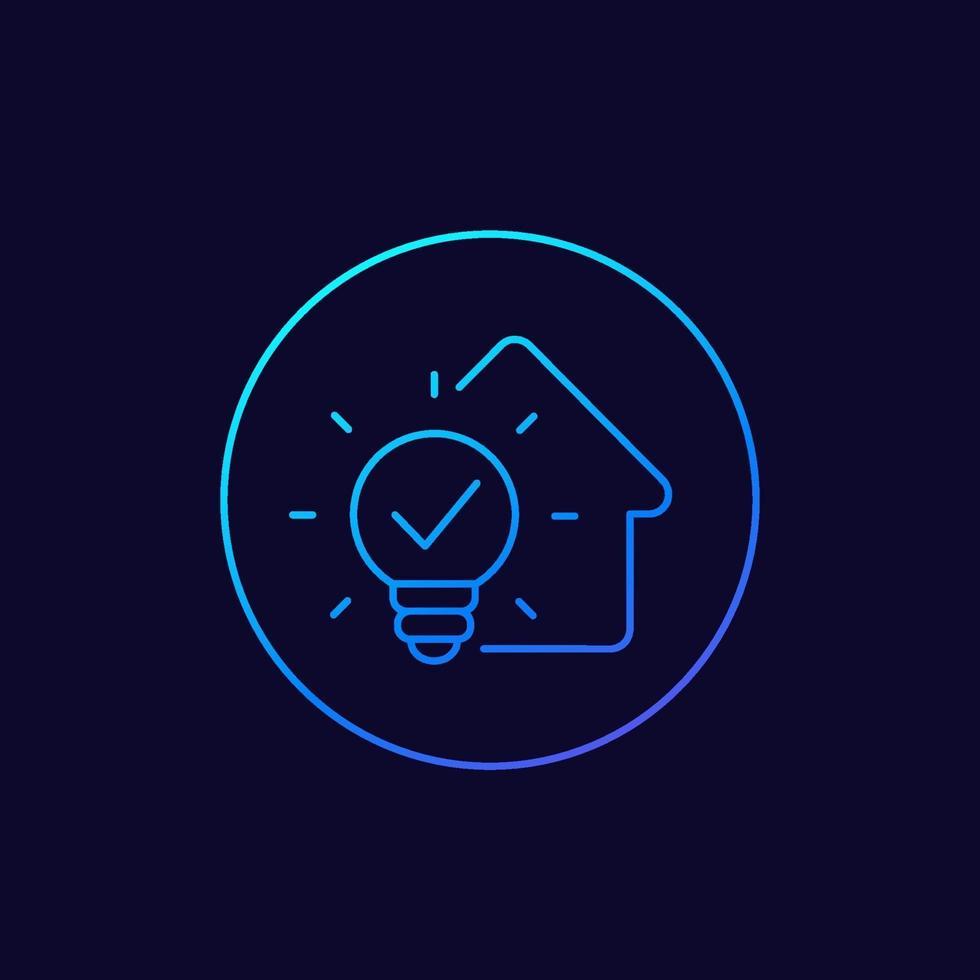 hus och glödlampa linjär ikon. eps vektor