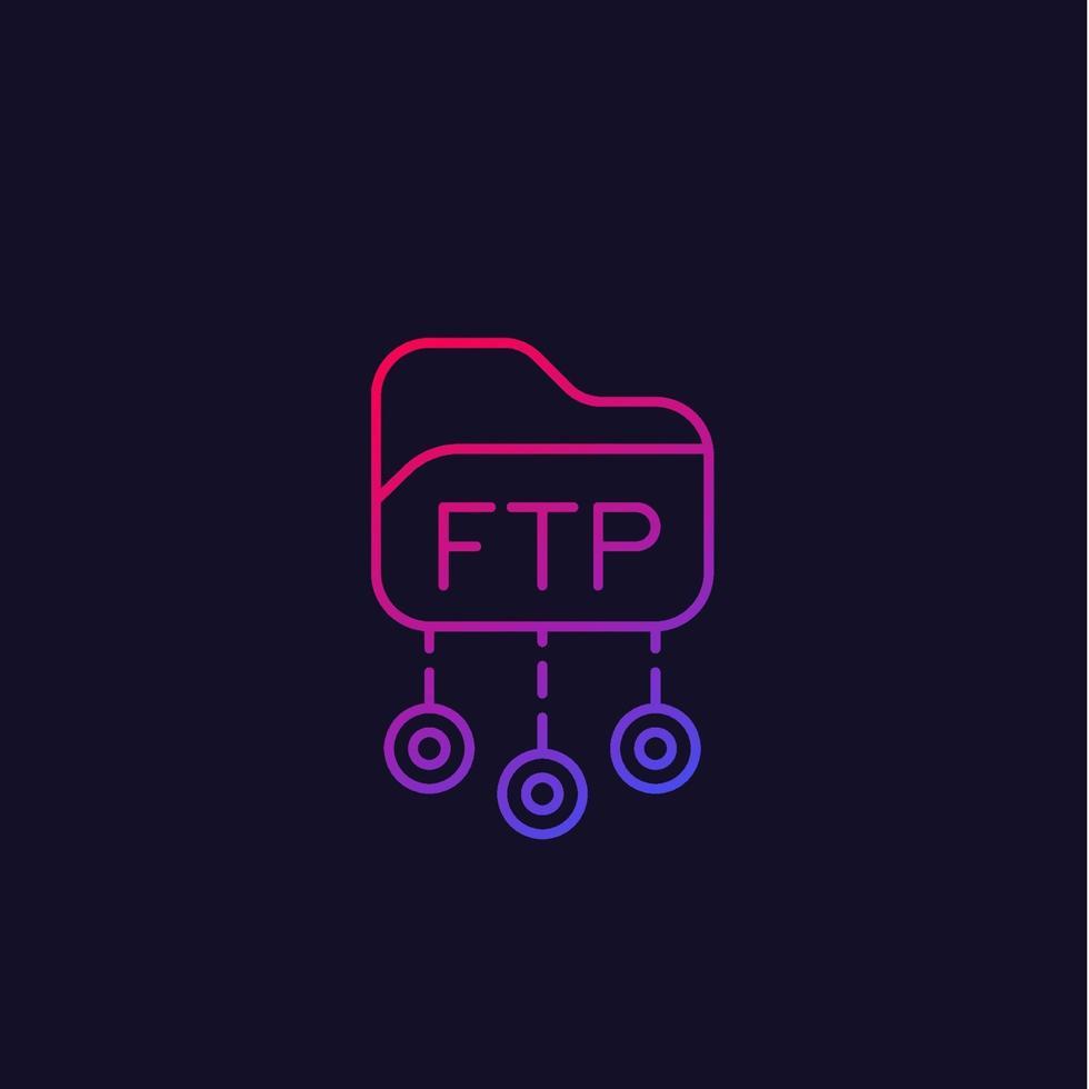 ftp protokoll vektor linjär ikon.eps
