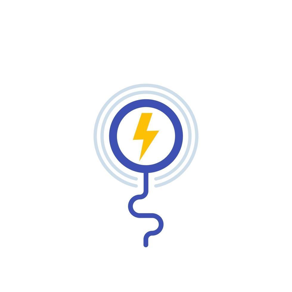ikon för trådlös laddningsstation på white.eps vektor