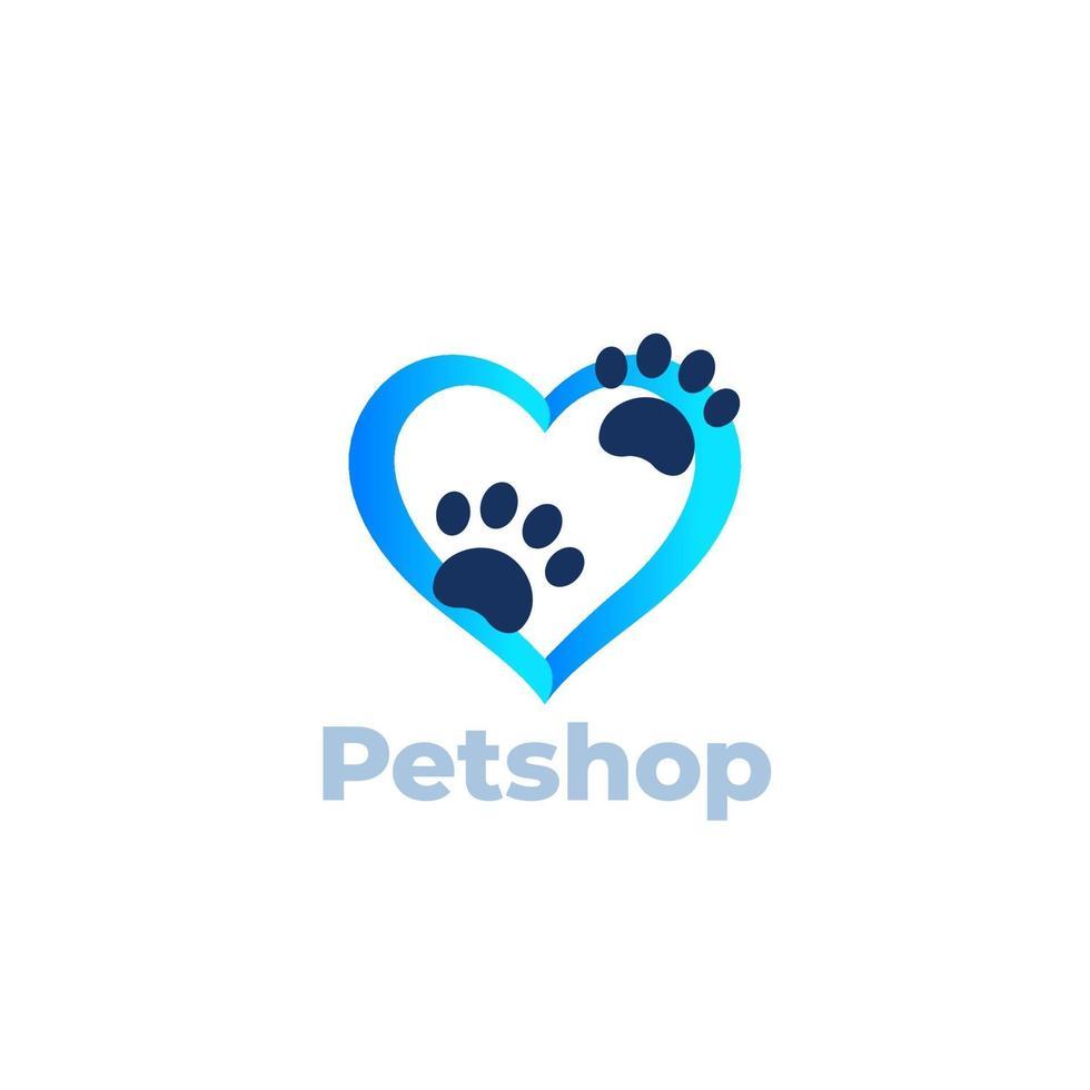 tass och hjärta, djuraffär vektor logo design. eps